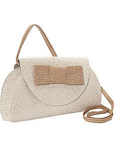 Lurex Paper Straw Bow Clutch/Crossbody by Magid