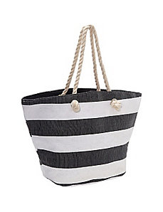Paper Straw Wide Stripe Beach Rope Tote by Magid