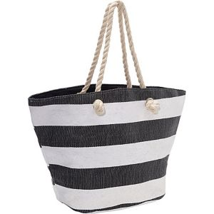 Paper Straw Wide Stripe Beach Rope Tote
