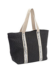 Sequined Trim Paper Straw Value Tote by Magid
