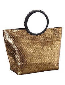 Metallic Paper Value Straw Ring Tote by Magid