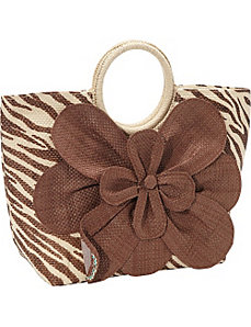 Animal Print Paper Value Straw Bracelet Tote by Magid