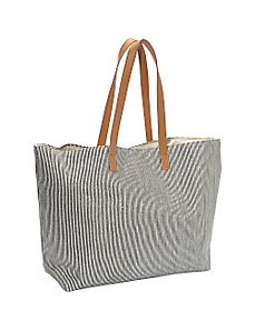 Striped Metallic Paper Straw Value Beach Tote by Magid