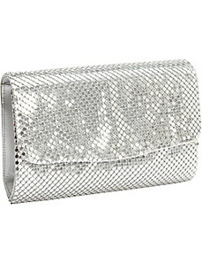 Metal Mesh Solid Clutch by Magid
