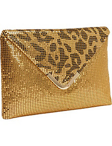 Metal Mesh Animal Print Flap Envelope Clutch by Magid