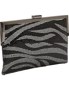 Metal Mesh Animal Print Frame Clutch by Magid
