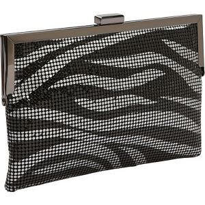 Metal Mesh Animal Print Frame Clutch