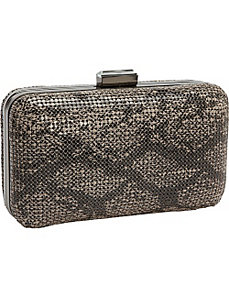 Metal Mesh Animal Print Box Clutch by Magid