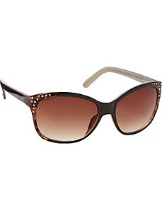 Animal Print Cat Eye w/ Stone Detail Sunglasses by Jessica Simpson Sunwear