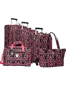 Pink Damask 5 Piece Luggage Set by Jenni Chan