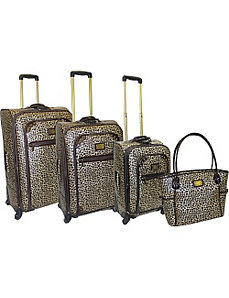Metallic Leopard 4 Piece Spinner Luggage Set by Adrienne Vittadini