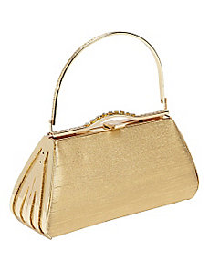 Textured Metallic Handbag with Metal Frame by Coloriffics Handbags