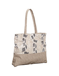 Snakeskin Print and Suede Shopper Tote by Clava