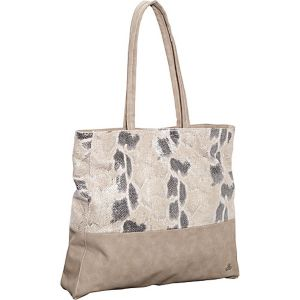 Snakeskin Print and Suede Shopper Tote