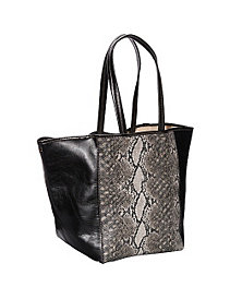 Page Python Print and Leather Tote by Clava