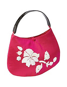 Floral Mother of Pearl Silk Handbag by Global Elements