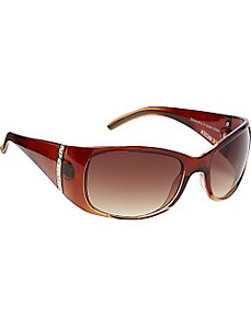 Oval Wrap Plastic with Metal and Stone Embellishme by Steve Madden Sunwear