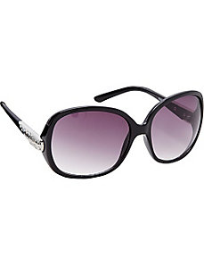 Oversized Glam Oval w/ Metal Logo Embossed Detail by Steve Madden Sunwear