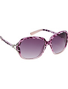 Plastic Animal Print Oval Oversized by Steve Madden Sunwear