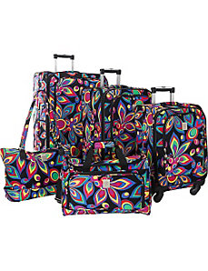 Wild Flower 360 Quattro 5 Piece Spinner Luggage Se by Jenni Chan