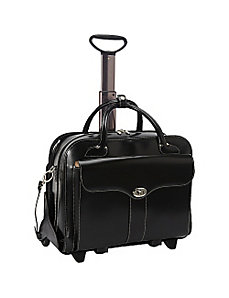 Berkeley Leather Rolling Laptop Tote by McKlein USA