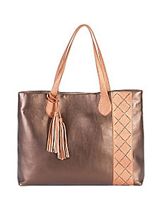 Metallic East/West Zigzag Tote by Jesselli Couture