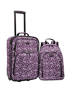 2-Piece Purple Leopard Carry-On  by U.S. Traveler