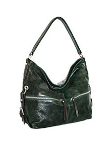 Top Zip Hobo with Zip Front Pockets by Nino Bossi