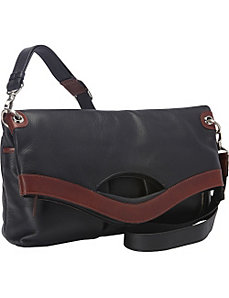 EW Fold Over Top Zip Shoulder Bag by Derek Alexander