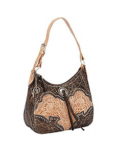 Heart of Gold Zip Top Structured Hobo by American West