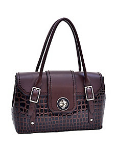 Patent Croco Fashion Satchel with Twist Lo by Dasein