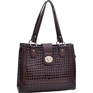 Women's Boxy Fashion Patent Croco Tote