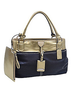 Two-tone Metallic Contrast Shoulder Bag with Bonus by Dasein
