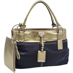 Two-tone Metallic Contrast Shoulder Bag with Bonus