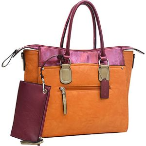 Two-tone Metallic Contrast Tote Bag w/ Coin Purse