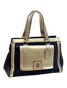 Two-tone Metallic Contrast Satchel by Dasein