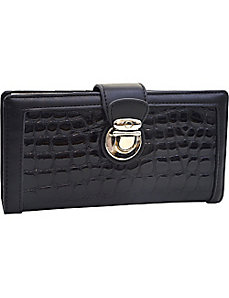 Patent Croco Chic Bi-fold Checkbook Wallet by Dasein