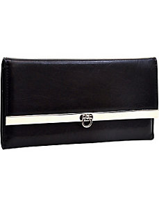 Classic Faux Leather Tri-Fold Checkbook Wallet by Dasein