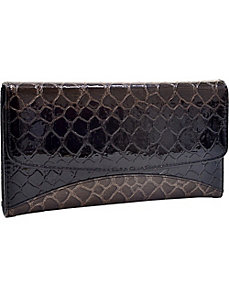 Faux Leather Snake Skin Embossed Checkbook Wallet by Dasein