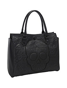 Black on Black Lattice Skull Tote by Loungefly