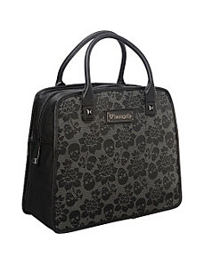 Skull Lace Black Embossed Satchel by Loungefly
