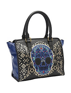 Blue Skull Black/Gold Fashion Tote by Loungefly