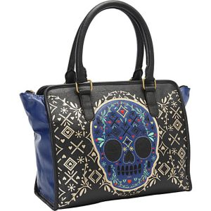Blue Skull Black/Gold Fashion Tote