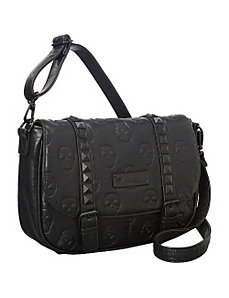 Skull Embossed Black Cross Body Bag by Loungefly