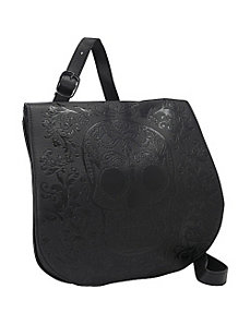 Black Sugar Skull Embossed Cross Body by Loungefly