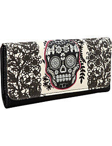 Lace Skull With Fuchsia Wallet by Loungefly