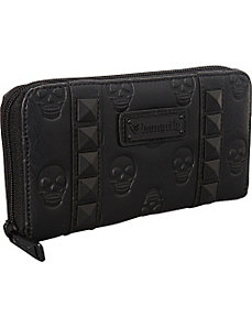 Skull Embossed Black Zip Around Wallet by Loungefly