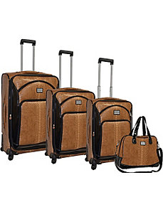 Faux Calf Leopard Collection Spinner 4pc Luggage Set by Adrienne Vittadini