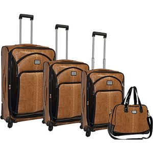 Faux Calf Leopard Collection Spinner 4pc Luggage Set