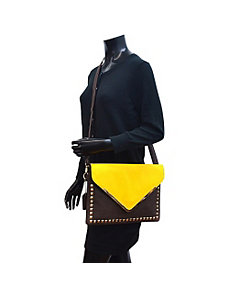 Large Two Tone Studded Envelope Clutch by Dasein